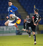 St Johnstone v Hamilton Accies…19.01.19…   McDiarmid Park    Scottish Cup 4th Round<br />Tony Watt charges down Dougie Imrie<br />Picture by Graeme Hart. <br />Copyright Perthshire Picture Agency<br />Tel: 01738 623350  Mobile: 07990 594431