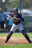 Minnesota Twins catcher Carlos Paulino (83) during a Spring Training practice on March 1, 2016 at Hammond Stadium in Fort Myers, Florida.  (Mike Janes/Four Seam Images)