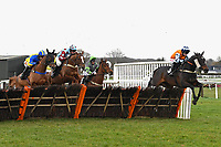 Winner of The Extech Cloud-Humanising It Handicap Hurdle Hawthorn Cottage (r) ridden by Lucy K Barry and trained by Amy Murphy clear the last first time around during Horse Racing at Plumpton Racecourse on 10th February 2020