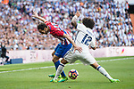 Diego Roberto Godin Leal (l) of Atletico de Madrid battles for the ball with Marcelo Vieira Da Silva of Real Madrid during their La Liga match between Real Madrid and Atletico de Madrid at the Santiago Bernabeu Stadium on 08 April 2017 in Madrid, Spain. Photo by Diego Gonzalez Souto / Power Sport Images