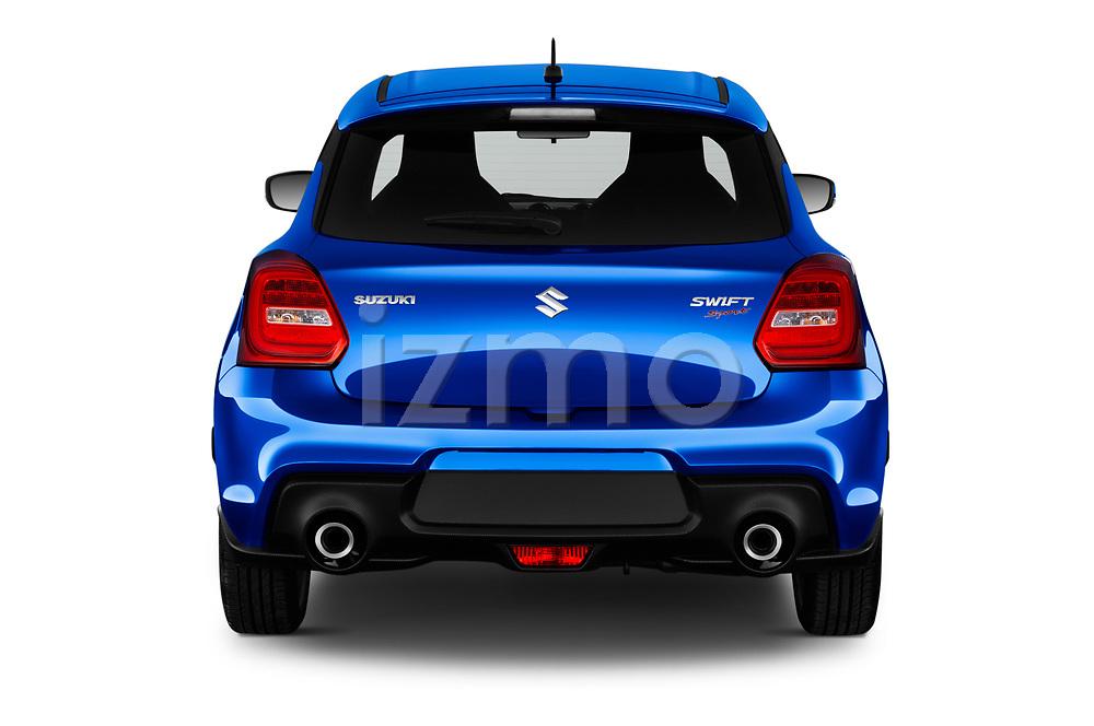 Straight rear view of a 2018 Suzuki Swift Sport Base 5 Door Hatchback stock images