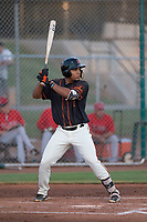 AZL Giants Black right fielder Franklin Labour (49) at bat during an Arizona League game against the AZL Angels at the San Francisco Giants Training Complex on July 1, 2018 in Scottsdale, Arizona. The AZL Giants Black defeated the AZL Angels by a score of 4-2. (Zachary Lucy/Four Seam Images)