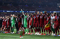 Liverpopol's players celebrate with the trophy at the end of the UEFA Champions League final football match between Tottenham Hotspur and Liverpool at Madrid's Wanda Metropolitano Stadium, Spain, June 1, 2019. Liverpool won 2-0.<br /> UPDATE IMAGES PRESS/Isabella Bonotto
