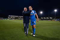 Barrow interim manager Rob Kelly and Jason Taylor of Barrow at full time during the Sky Bet League 2 match between Forest Green Rovers and Barrow at The New Lawn, Nailsworth on Tuesday 27th April 2021. (Credit: Prime Media Images I MI News)