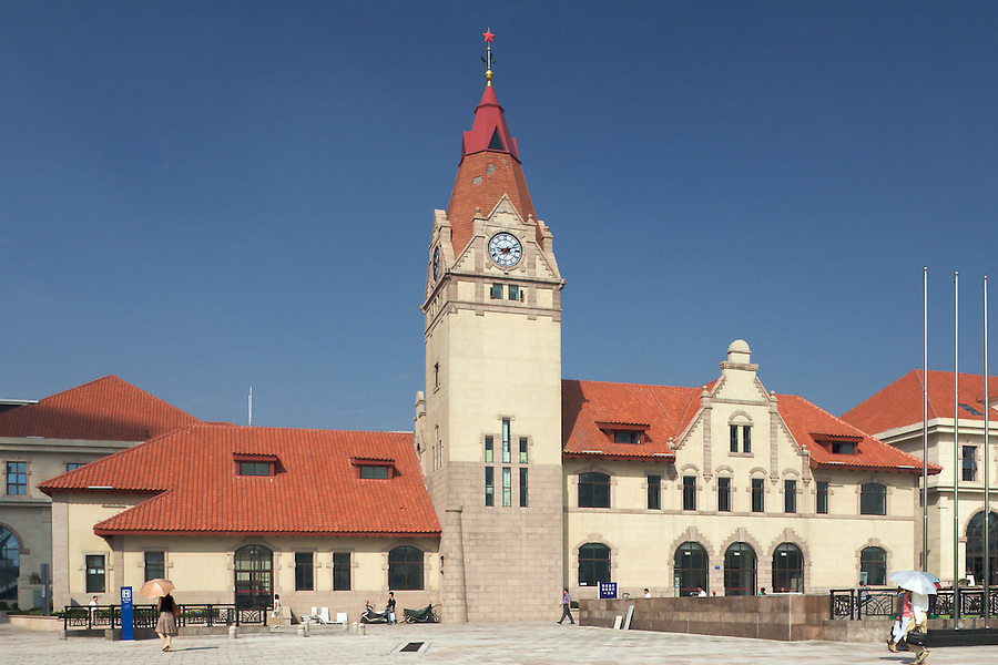 Qingdao Railway Station.  Except That The Clock Tower Is Three Meters Higher, This Is An Exact Replica Of The Original Station Built in 1901 But Demolished In 1991.