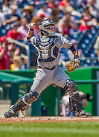 26 April 2014: San Diego Padres catcher Rene Rivera in action against the Washington Nationals at Nationals Park in Washington, DC. The Nationals defeated the Padres 4-0 to take the third game of their 4-game series. Mandatory Credit: Ed Wolfstein Photo *** RAW (NEF) Image File Available ***