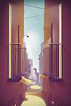 Illustration of empty balconies and narrow street