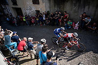 Gianluca Brambilla (ITA/Trek-Segafredo) & Eros Capecchi (ITA/Deceuninck - QuickStep) charging up the steep, cobbled & crowded climb (on the final ascent with 3km to go) in Pinerolo<br /> <br /> Stage 12: Cuneo to Pinerolo (158km)<br /> 102nd Giro d'Italia 2019<br /> <br /> ©kramon