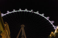Las Vegas, Nevada.  Gondolas at Night on the High Roller, the highest observation wheel in the world as of 2015.