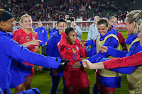CARSON, CA - FEBRUARY 7: Crystal Dunn #19 celebrates with teammates after the match during a game between Mexico and USWNT at Dignity Health Sports Park on February 7, 2020 in Carson, California.