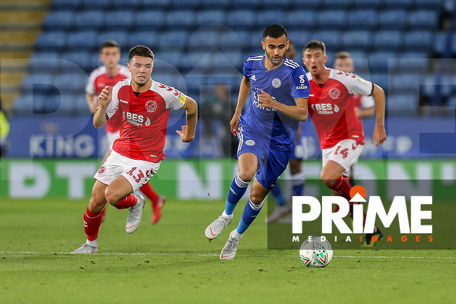 Rachid Ghezzal of Leicester City (right) and Joe Maguire of Fleetwood Town (left) during the English League Cup Round 2 Group North match between Leicester City and Fleetwood Town at the King Power Stadium, Leicester, England on 28 August 2018. Photo by David Horn.