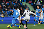 Getafe CF's Leandro Cabrera and Valencia CF's Rodrigo Moreno during La Liga match between Getafe CF and Valencia CF at Coliseum Alfonso Perez in Getafe, Spain. November 10, 2018.