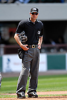International League Umpire Derek Crabill during a game between the Pawtucket Red Sox and Toledo Mud Hens on May 3, 2011 at McCoy Stadium in Pawtucket, Rhode Island. Photo by Ken Babbitt/Four Seam Images.