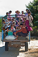Myanmar, Burma. Local Transport on Road near Bagan.  Burma Ethnic Group.