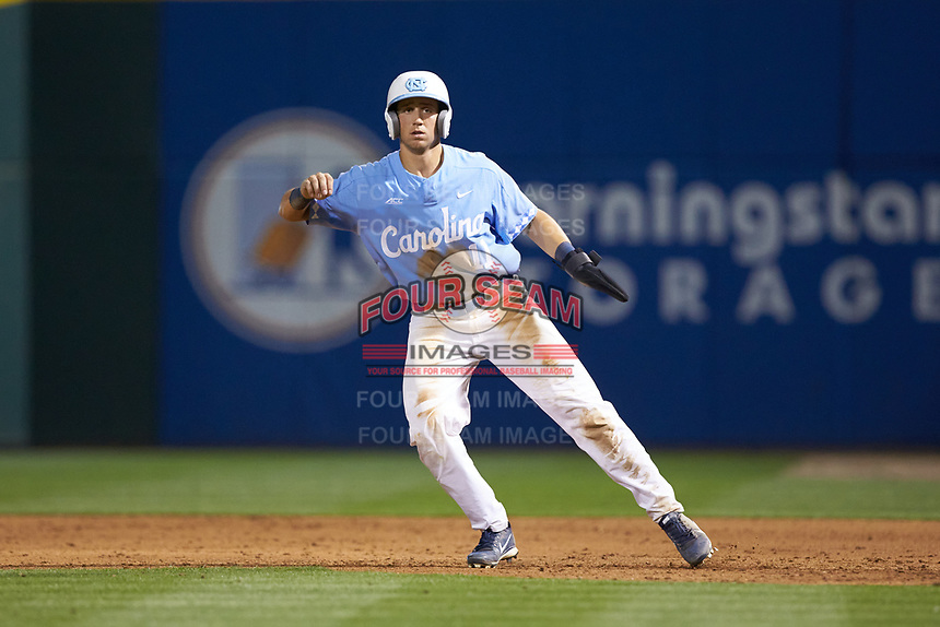 Cody Roberts (11) of the North Carolina Tar Heels takes his lead off of first base against the South Carolina Gamecocks at BB&T BallPark on April 3, 2018 in Charlotte, North Carolina. The Tar Heels defeated the Gamecocks 11-3. (Brian Westerholt/Four Seam Images)