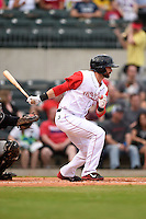 Arkansas Travelers outfielder Adam Melker (11) at bat during a game against the San Antonio Missions on May 24, 2014 at Dickey-Stephens Park in Little Rock, Arkansas.  Arkansas defeated San Antonio 4-2.  (Mike Janes/Four Seam Images)