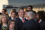 The Welsh rugby team celebrate winning the Grand Slam in the Six Nations rugby tournament at The Senydd in Cardiff Bay..Gethin Jenkins waiting to meet the fans..