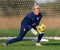 ORLANDO, FL - JANUARY 21: Jane Campbell #24 of the USWNT makes a save during a training session at the practice fields on January 21, 2021 in Orlando, Florida.