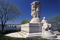 Washington, DC, District of Columbia, Ericsson Memorial at West Potomac Park along the Potomac River in Washington D.C. in the spring.