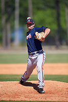 Atlanta Braves pitcher Keith Weisenberg (45) during a Minor League Spring Training game against the Detroit Tigers on March 22, 2018 at the TigerTown Complex in Lakeland, Florida.  (Mike Janes/Four Seam Images)