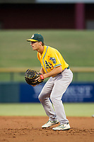 AZL Athletics first baseman Jake Lumley (31) on defense during a game against the AZL Cubs on August 9, 2017 at Sloan Park in Mesa, Arizona. AZL Athletics defeated the AZL Cubs 7-2. (Zachary Lucy/Four Seam Images)