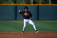 AZL D-backs second baseman Glenallen Hill Jr. (6) throws to first base during an Arizona League game against the AZL Mariners on July 3, 2019 at Salt River Fields at Talking Stick in Scottsdale, Arizona. The AZL D-backs defeated the AZL Mariners 3-1. (Zachary Lucy/Four Seam Images)