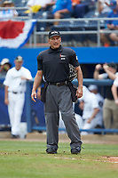 Home plate umpire Perry Costello works the game between the Wake Forest Demon Deacons and the Florida Gators in the completion of Game Two of the Gainesville Super Regional of the 2017 College World Series at Alfred McKethan Stadium at Perry Field on June 12, 2017 in Gainesville, Florida. The Demon Deacons walked off the Gators 8-6 in 11 innings. (Brian Westerholt/Four Seam Images)