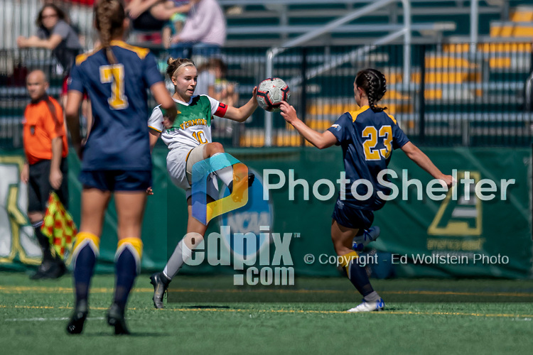 1 September 2019: University of Vermont Catamount Midfielder/Defender Ella Bankert, a Junior from Cuttingsville, VT, in action against the Merrimack College Warriors in Game 3 of the TD Bank Women's Soccer Classic at Virtue Field in Burlington, Vermont. The Lady Warriors rallied in the second half to defeat the Catamounts 2-1. Mandatory Credit: Ed Wolfstein Photo *** RAW (NEF) Image File Available ***