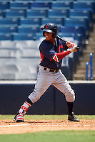 Jeremy Arocho (1) of Old Mill High School in Glen Burnie, Maryland playing for the Cleveland Indians scout team during the East Coast Pro Showcase on August 3, 2016 at George M. Steinbrenner Field in Tampa, Florida.  (Mike Janes/Four Seam Images)