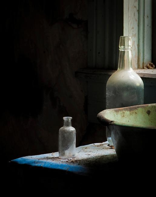 Old medicine bottles in the hotel in Garnet (ghost town), Montana.