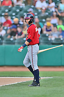 Mississippi Braves shortstop Dansby Swanson (5) checks for signals during a game against the Tennessee Smokies at Smokies Stadium on May 7, 2016 in Kodak, Tennessee. The Smokies defeated the Braves 5-3. (Tony Farlow/Four Seam Images)