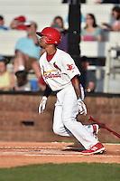 Johnson City Cardinals shortstop Edmundo Sosa (19) swings at a pitch during a game against the Kingsport Mets on June 25, 2015 in Johnson City, Tennessee. The Mets defeated the Cardinals 10-8 (Tony Farlow/Four Seam Images)