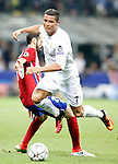 Real Madrid's Cristiano Ronaldo (r) and Atletico de Madrid's Juanfran Torres during UEFA Champions League 2015/2016 Final match.May 28,2016. (ALTERPHOTOS/Acero)