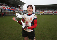 Tuesday 3rd April 2018 | Malone Women vs Ballynahinch Women<br /> <br /> Malone captain Jenna Stewart celebrates with the trophy after Malone defeated Ballynahinch in the Easter Tuesday Ulster Womens final at Kingspan Stadium, Ravenhill Park, Belfast, Northern Ireland. Photo by John Dickson / DICKSONDIGITAL