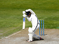 27th May 2021; Emirates Old Trafford, Manchester, Lancashire, England; County Championship Cricket, Lancashire versus Yorkshire, Day 1; Harry Dukeof Yorkshire with a defensive shot