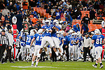 Air Force linebacker Jamil Cooks celebrates with a teammate after sacking Toledo quarterback Justin Olack during the first half in then Military Bowl at Robert F. Kennedy Stadium in Washington, D.C. on December 28, 2011.