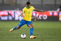 13th October 2020; National Stadium of Peru, Lima, Peru; FIFA World Cup 2022 qualifying; Peru versus Brazil;  Danilo of Brazil plays the ball forward