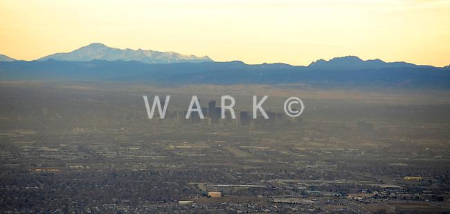 Denver aerial with winter smog