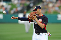 Shortstop Andrelton Simmons (19) of the Atlanta Braves before a Spring Training game against the New York Yankees on Wednesday, March 18, 2015, at Champion Stadium at the ESPN Wide World of Sports Complex in Lake Buena Vista, Florida. The Yankees won, 12-5. (Tom Priddy/Four Seam Images)