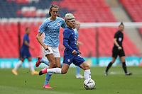 29th August 2020; Wembley Stadium, London, England; Community Shield Womens Final, Chelsea versus Manchester City; Ji So-yun of Chelsea Women under pressure from Jill Scott of Manchester City Women