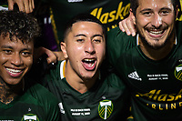 LAKE BUENA VISTA, FL - AUGUST 11: Marvin Loria #44 of the Portland Timbers celebrate a victory after a game between Orlando City SC and Portland Timbers at ESPN Wide World of Sports on August 11, 2020 in Lake Buena Vista, Florida.