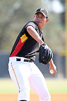 Pittsburgh Pirates minor league pitcher Orlando Castro vs. the Toronto Blue Jays during an Instructional League game at Pirate City in Bradenton, Florida;  October 11, 2010.  Photo By Mike Janes/Four Seam Images