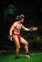 Hawaiian man chanting a warrior oli