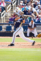 March 13, 2010 - Milwaukee Brewers' Matt Treanor (#20) during a spring training game against the Colorado Rockies at Maryvale Baseball Park in Maryvale, Arizona.