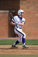 Jordan Sergent (9) of the High Point Panthers follows through on his swing against the NJIT Highlanders during game one of a double-header at Williard Stadium on February 18, 2017 in High Point, North Carolina.  The Panthers defeated the Highlanders 11-0.  (Brian Westerholt/Four Seam Images)