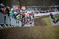 Mathieu Van der Poel (NLD) leading the race<br /> <br /> Elite Men's race<br /> <br /> 2015 UCI World Championships Cyclocross <br /> Tabor, Czech Republic