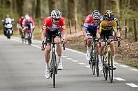 Kasper Asgreen (DEN/Deceuninck - Quick Step) making a move up the Hotond with Wout van Aert (BEL/Jumbo-Visma) & Mathieu Van der Poel (NED/Alpecin-Fenix) reacting<br /> <br /> 105th Ronde van Vlaanderen 2021 (MEN1.UWT)<br /> <br /> 1 day race from Antwerp to Oudenaarde (BEL/264km) <br /> <br /> ©kramon