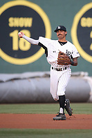 Markus Montelongo (1) of the Long Beach State Dirtbags in the field during a game against the TCU Horned Toads at Blair Field on March 14, 2017 in Long Beach, California. Long Beach defeated TCU, 7-0. (Larry Goren/Four Seam Images)