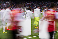 Real Madrid's and Stade de Reims's players between the Real Madrid's  Europe Supercup Champions League Cup during the XXXVII Santiago Bernabeu Trophy in Madrid. August 16, Spain. 2016. (ALTERPHOTOS/BorjaB.Hojas) /NORTEPHOTO