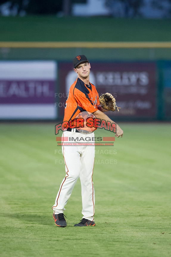 AZL Giants third baseman Jacob Gonzalez (52) warms up in the outfield prior to the game against the AZL Cubs on September 5, 2017 at Scottsdale Stadium in Scottsdale, Arizona. AZL Cubs defeated the AZL Giants 10-4 to take a 1-0 lead in the Arizona League Championship Series. (Zachary Lucy/Four Seam Images)